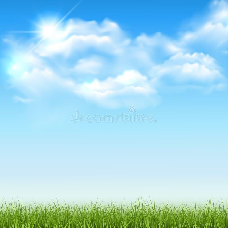 Piękny wektorowy pogodny gazon lub łąka z puszystymi chmurami i słońcem w niebie z spae dla twój projekta lub teksta - ilustracji