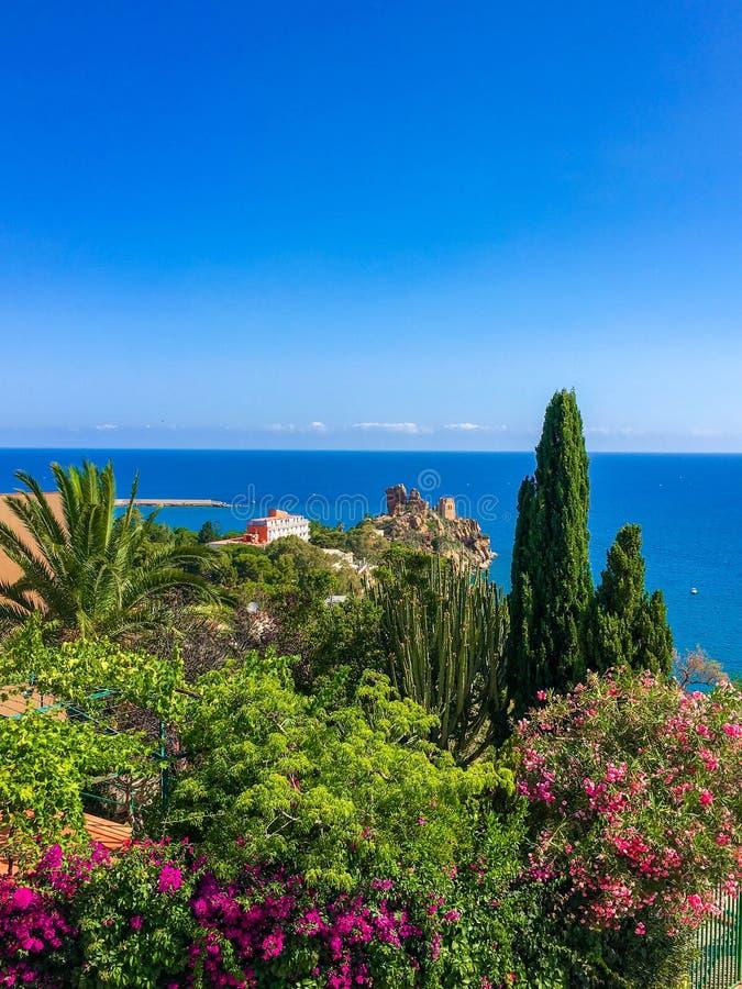 Piękny widok na morzu roślinach i, Cefalu, Sicily, Włochy obrazy royalty free