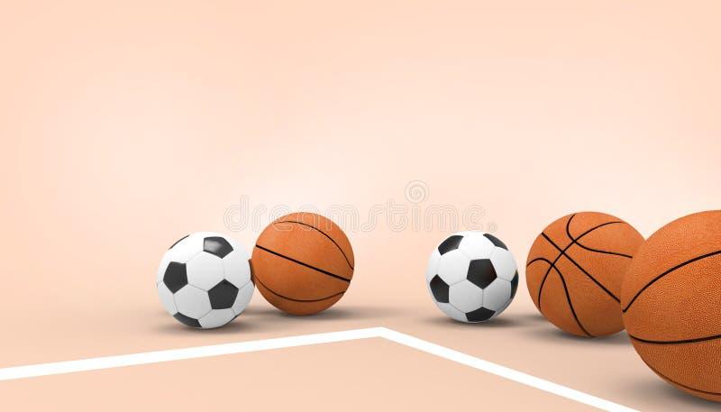 Piłki nożnej piłka, Balowi sporty na różowym tle dla kopii przestrzeni i wakacje letni, royalty ilustracja