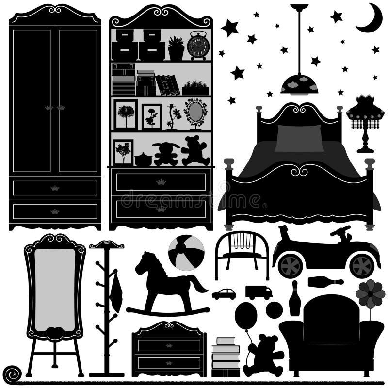 Pièce à la maison de conception intérieure de chambre à coucher illustration de vecteur