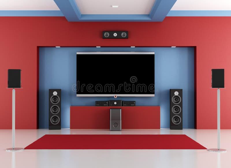 Pièce à la maison rouge et bleue de cinéma illustration stock