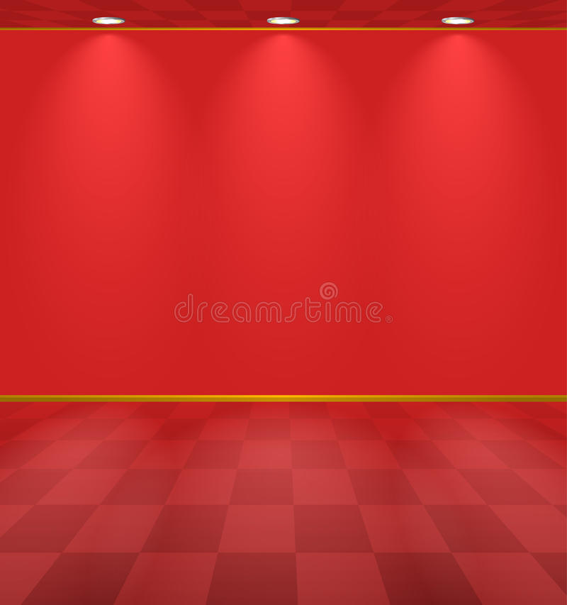 Pièce éclairée par rouge illustration de vecteur