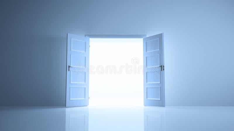 Pièce abstraite avec une image de portes ouvertes illustration libre de droits
