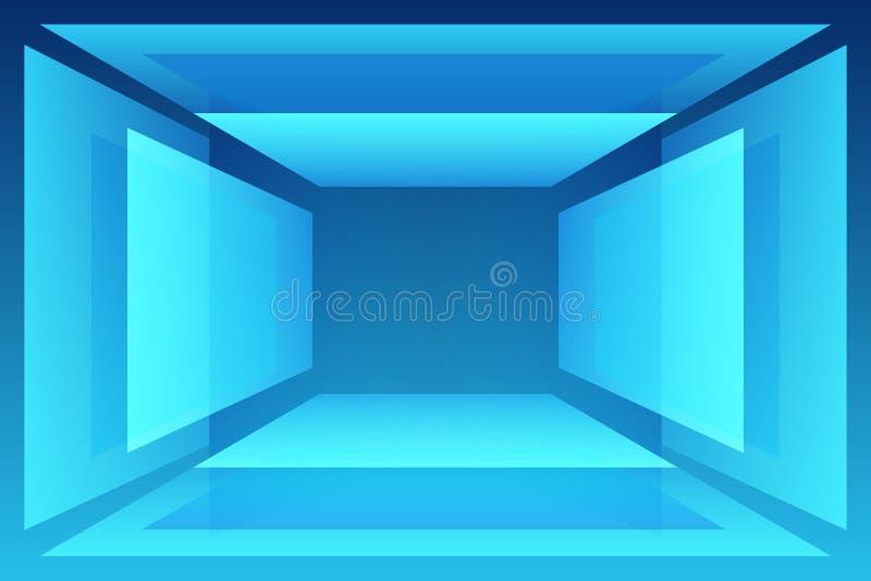 Pièce abstraite géométrique bleue avec le guéridon pour votre objet illustration de vecteur