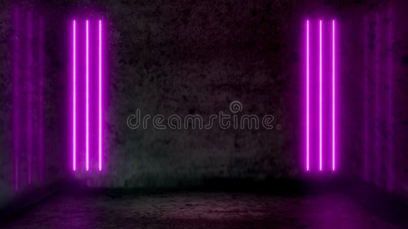 Pièce abstraite sombre vide avec les lampes au néon fluorescentes pourpres illustration stock