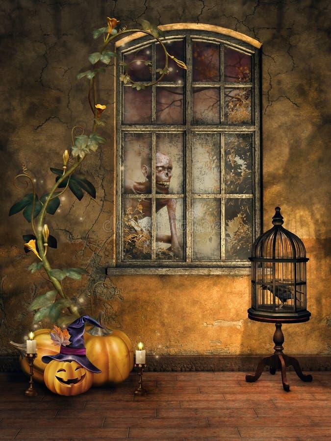Pièce avec des potirons de Halloween illustration de vecteur