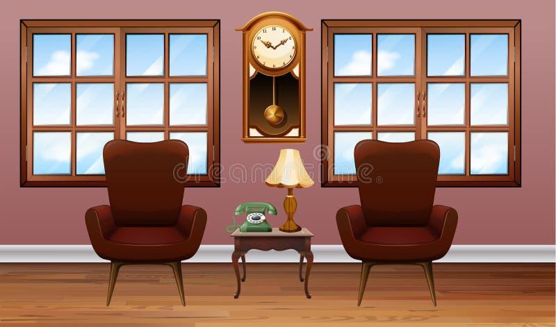 Pièce avec deux fauteuils bruns illustration de vecteur