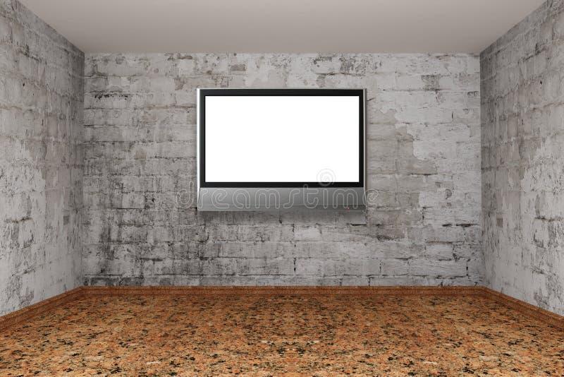 Pièce avec l'affichage à cristaux liquides TV illustration stock