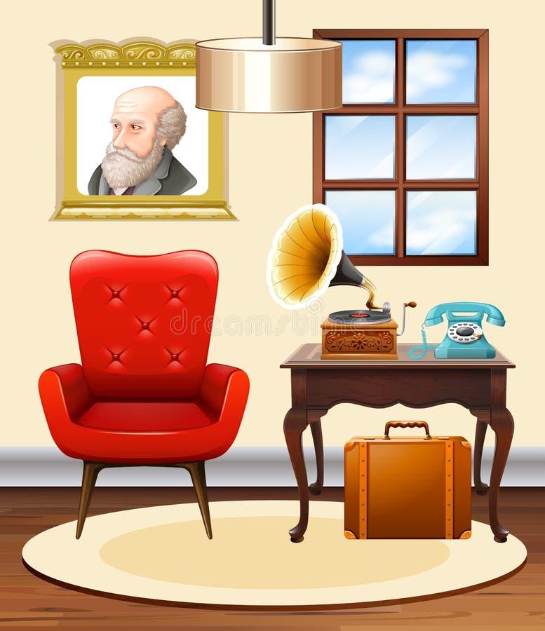 Pièce avec la chaise et le phonographe rouges illustration de vecteur