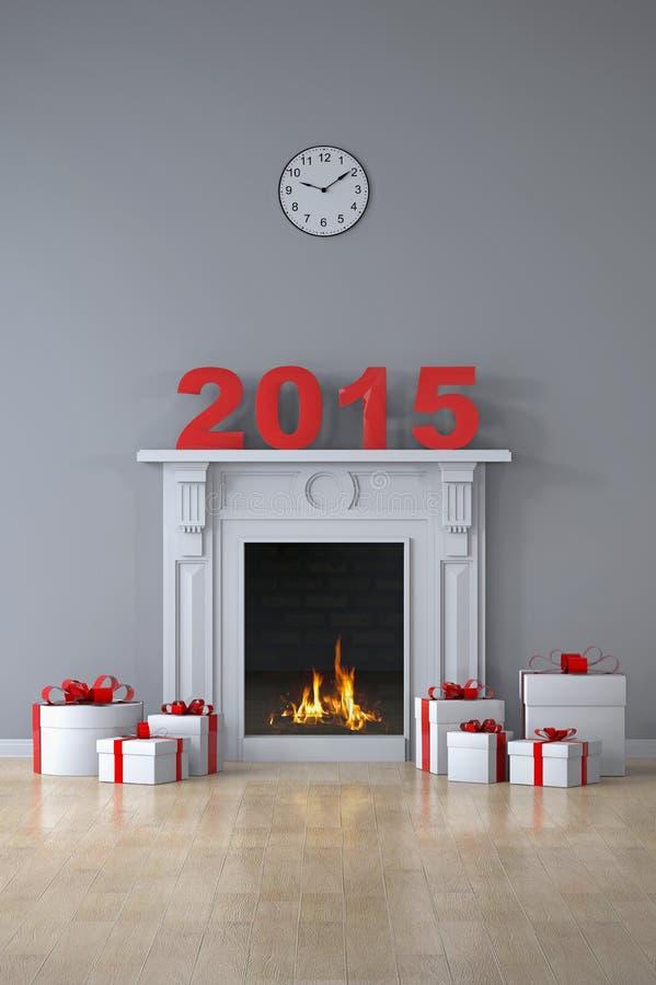 Pièce avec la cheminée et les cadeaux photo libre de droits