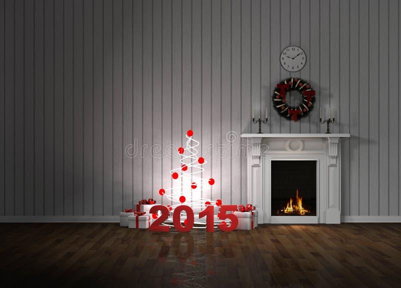 Pièce avec la cheminée et les cadeaux images stock