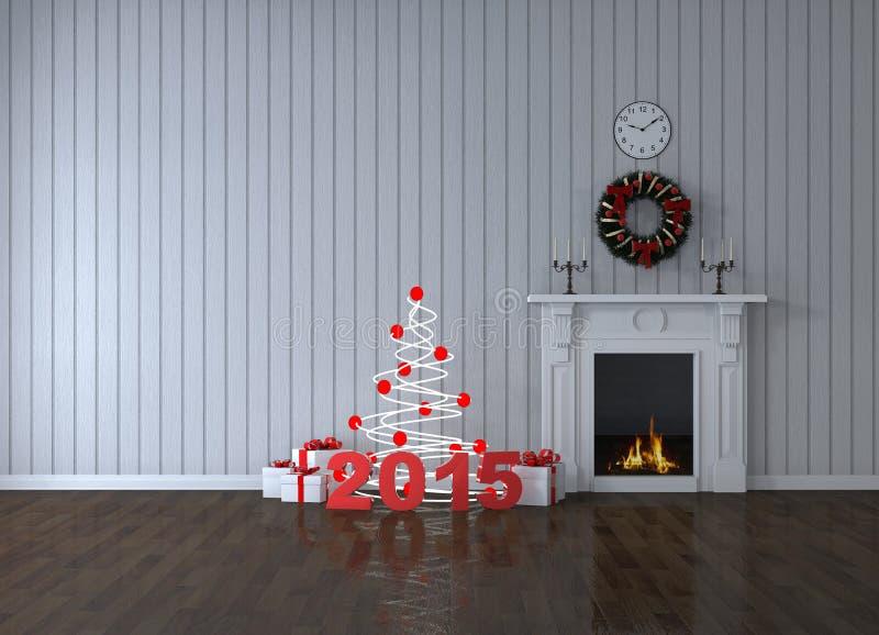 Pièce avec la cheminée et les cadeaux image libre de droits