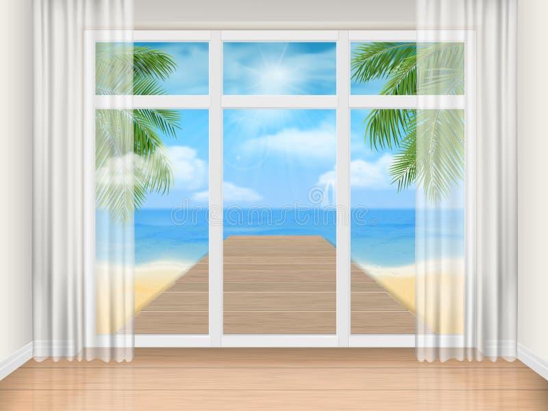 Pièce avec la grandes fenêtre et plage de mer illustration de vecteur