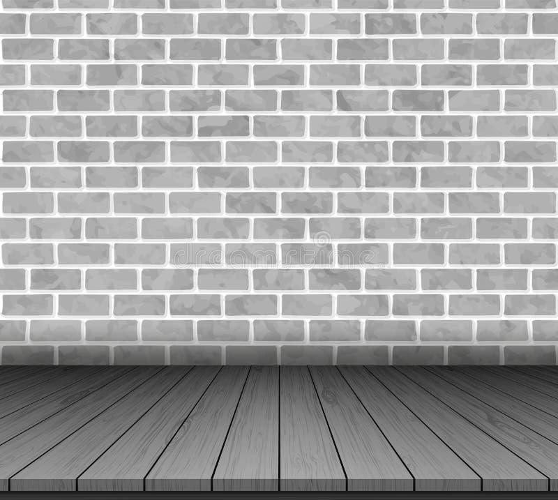 Pièce avec le mur de briques et l'étage en bois Illustration de vecteur illustration de vecteur