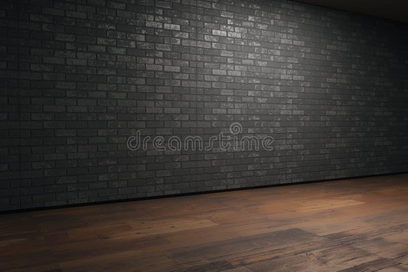 Pièce avec le mur de briques vide illustration stock