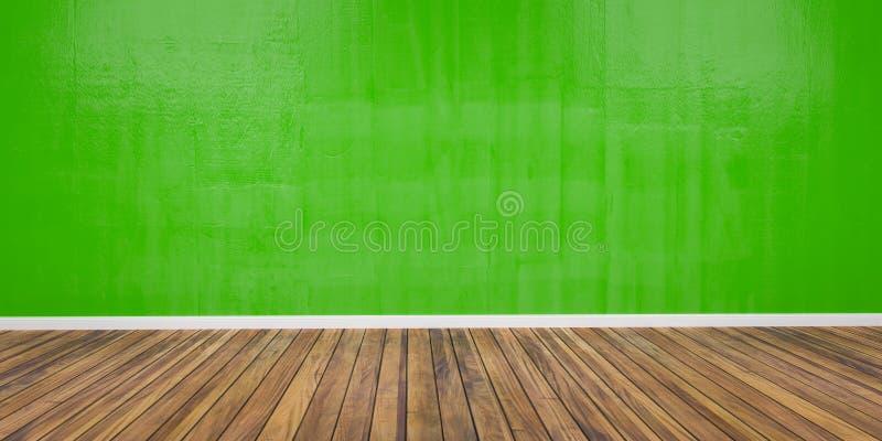 Pièce avec le mur vert en béton et l'illustration en bois du plancher 3D illustration de vecteur