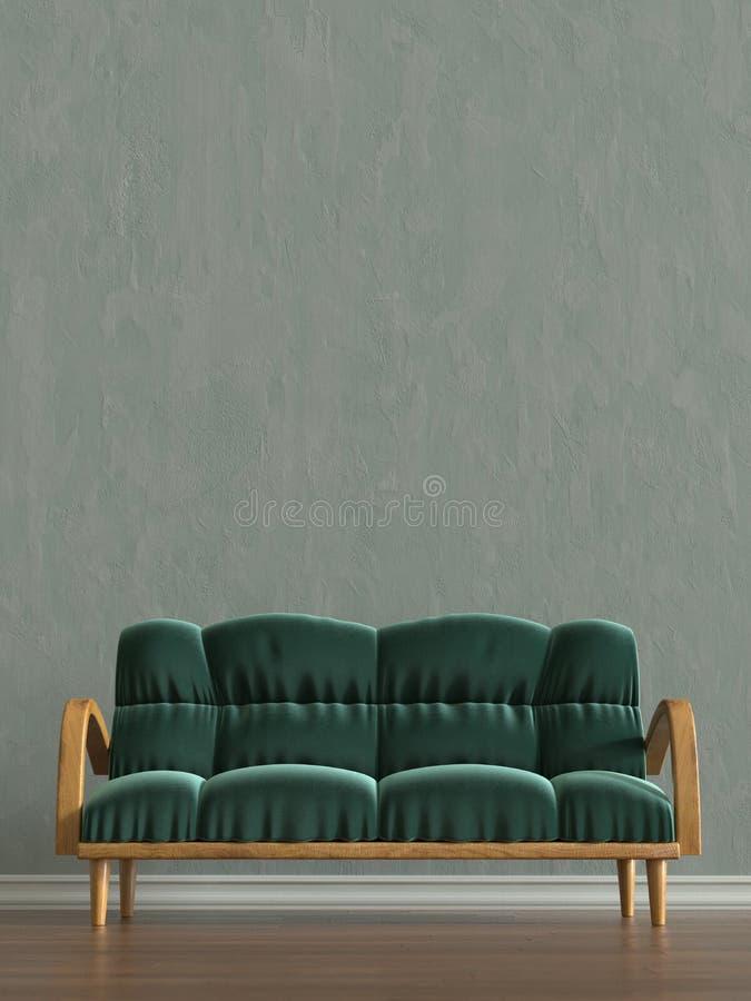 Pièce avec le rendu de sofa illustration stock