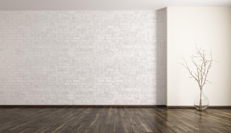 Pièce avec le rendu du vase 3d à mur de briques et en verre illustration libre de droits