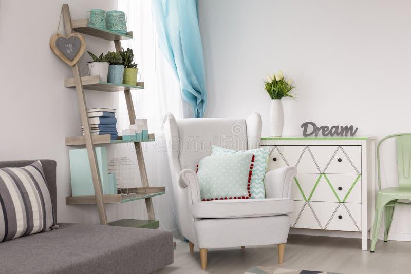 Pièce avec les étagères, le fauteuil et le sofa créatifs photos libres de droits