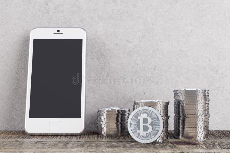 Pièce avec les bitcoins et le téléphone portable illustration libre de droits