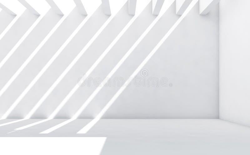 Pièce blanche avec le modèle des faisceaux lumineux 3d illustration libre de droits