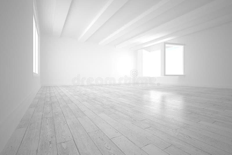 Pièce blanche avec les fenêtres ouvertes illustration stock