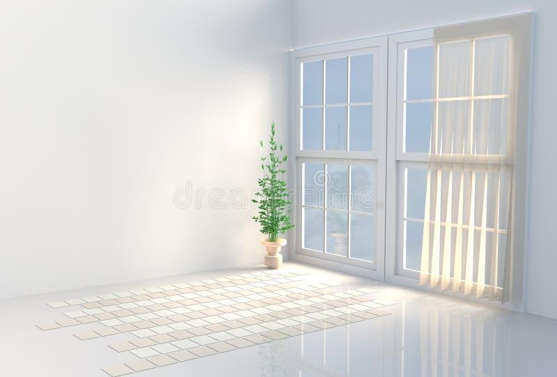 Pièce blanche chaude Le soleil brille par la fenêtre dans les ombres 3d rendent illustration stock