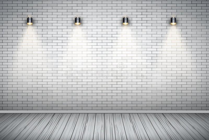 Pièce blanche de mur de briques avec des projecteurs de vintage illustration libre de droits