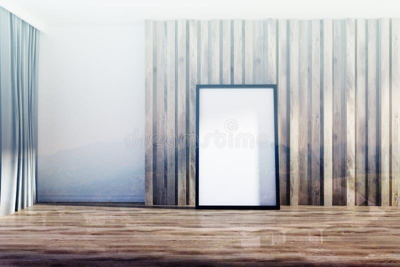 Pièce blanche et en bois, affiche encadrée modifiée la tonalité illustration stock