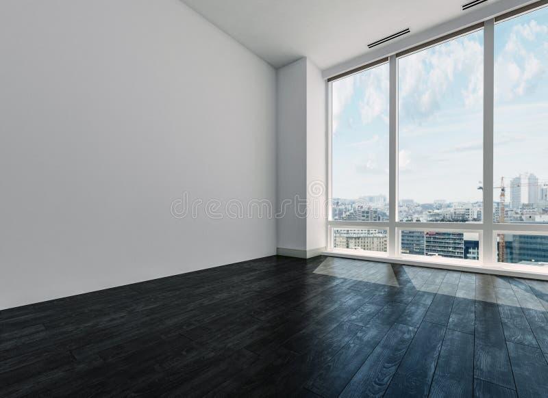 Pièce blanche vide avec la vue au-dessus de la ville illustration de vecteur