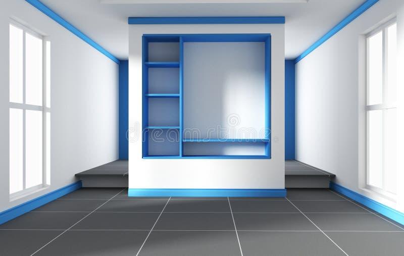 Pièce bleue - belle pièce, pièce vide, intérieur lumineux moderne rendu 3d illustration de vecteur