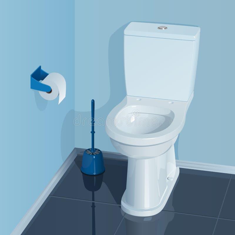 Pièce bleue de toilette avec la cuvette des toilettes en céramique blanche illustration stock