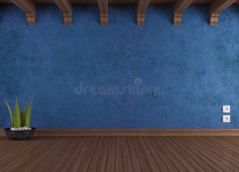 Pièce bleue vide de cru illustration de vecteur