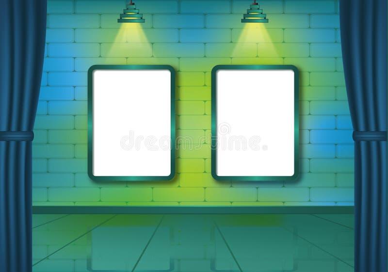 Pièce colorée d'exposition de brique avec des projecteurs illustration libre de droits