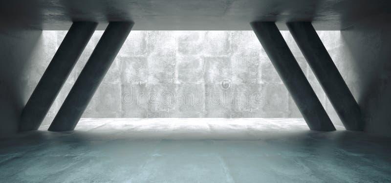 Pièce concrète vide avec la lumière brillante de trou de plafond par elle A illustration de vecteur