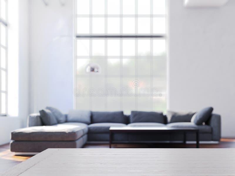 Pièce confortable moderne avec la table en bois sur le foregound et sur le foyer, rendu 3d illustration stock