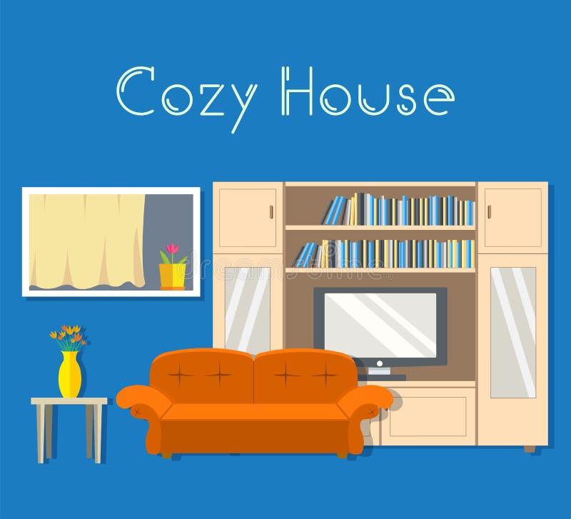 Pièce confortable plate dans la maison avec le concept d'illustration de vecteur de fond de meubles illustration libre de droits