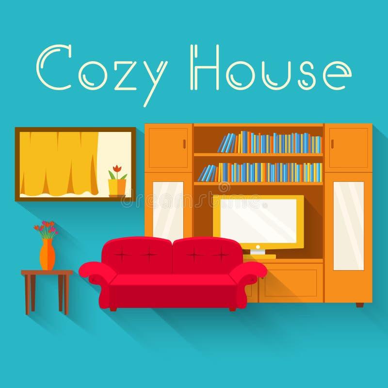 Pièce confortable plate dans la maison avec le fond de meubles illustration stock