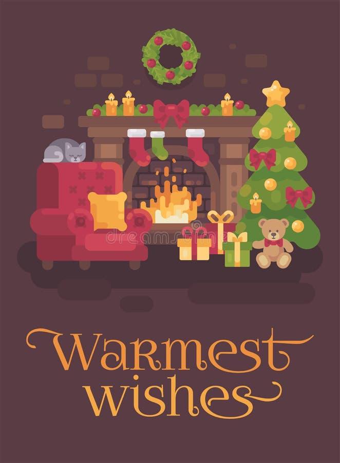 Pièce décorée confortable de Noël avec une cheminée, un fauteuil rouge, un arbre de Noël avec des présents et un chat de sommeil  illustration de vecteur