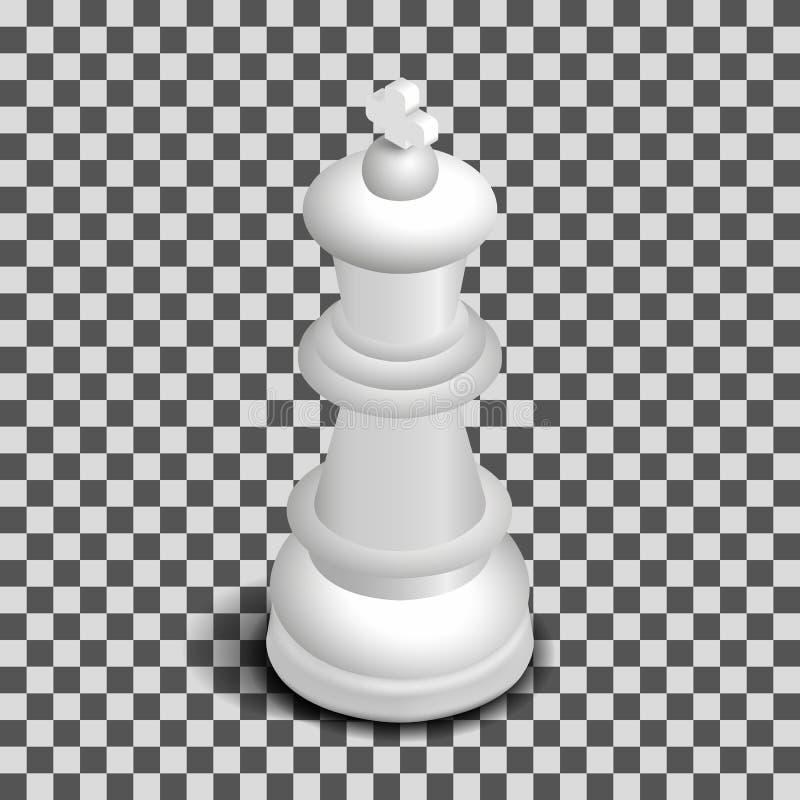 Pièce d'échecs blanche de roi isométrique, illustration de vecteur illustration de vecteur