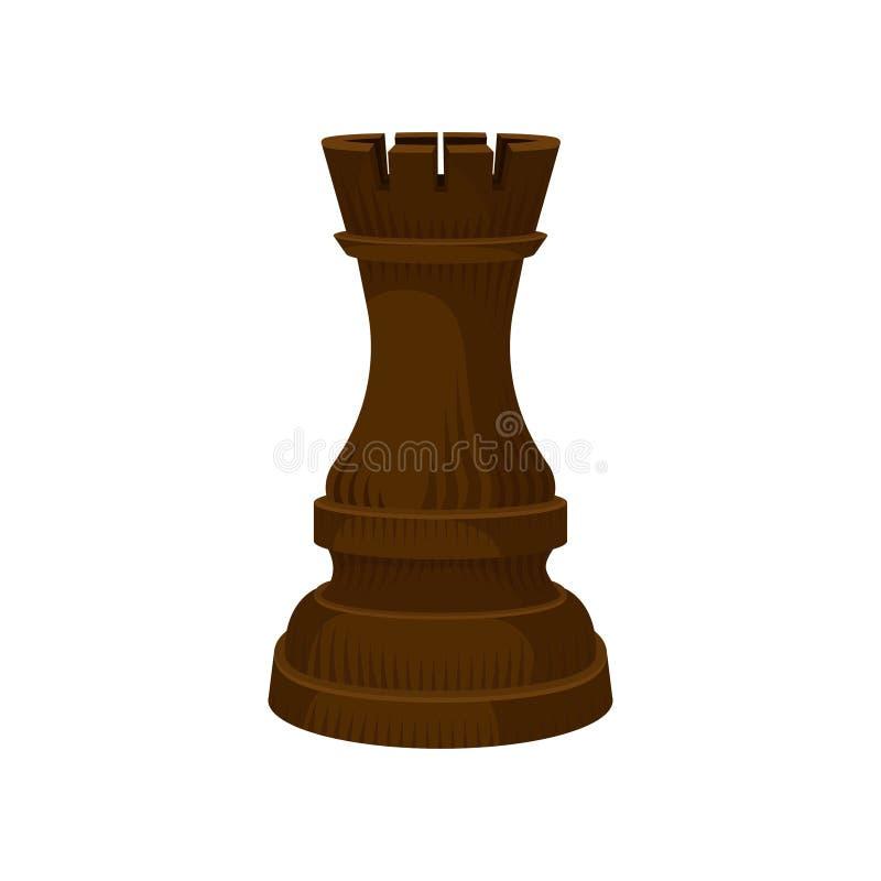 Pièce d'échecs en bois de Brown - tour de freux Figure de jeu de société stratégique Icône plate de vecteur illustration stock