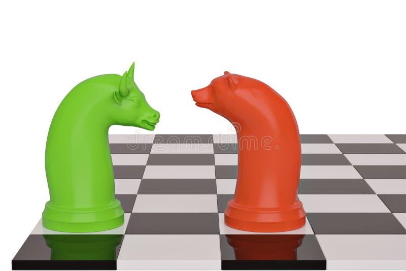 Pièce d'échecs d'ours et de taureau sur le damier illustration 3D illustration libre de droits