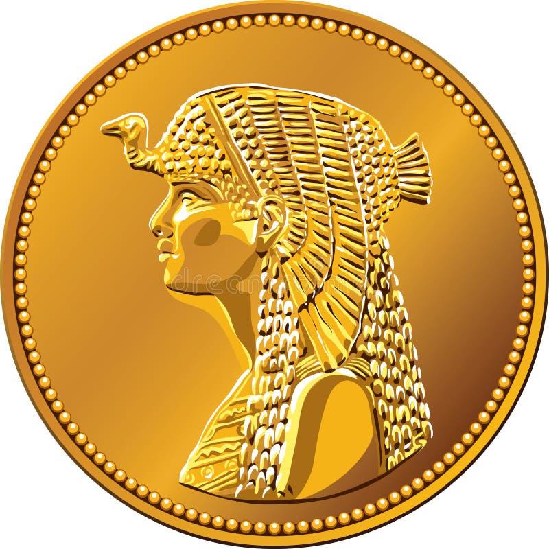 pièce d'or égyptienne de vecteur comportant Cléopâtre illustration libre de droits