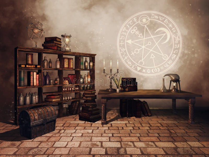 Pièce d'étude du ` s d'alchimiste illustration libre de droits