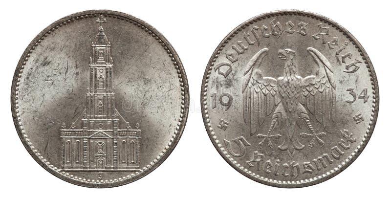 Pièce d'argent de cinq marks Allemagne 1934 images stock