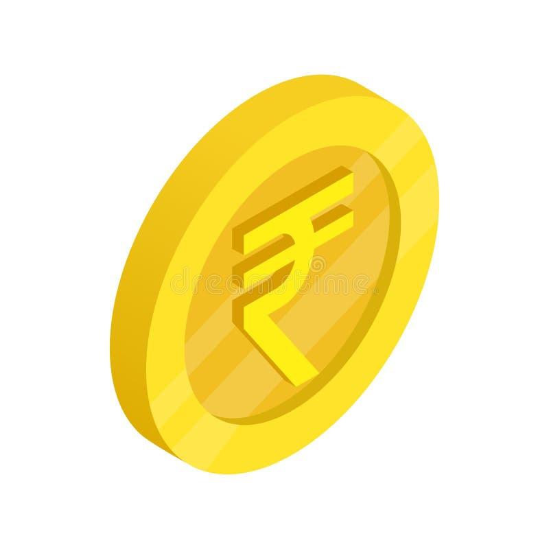 Pièce d'or avec l'icône de signe de roupie, style 3d isométrique illustration stock