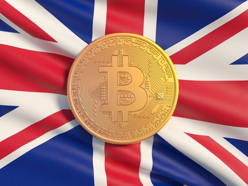 Pièce d'or Bitcoin contre le drapeau de fond du Royaume-Uni Image symbolique de devise virtuelle illustration libre de droits