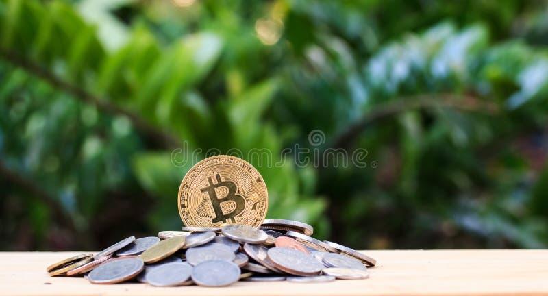 Pièce d'or Bitcoin sur une table en bois sur un fond photo stock
