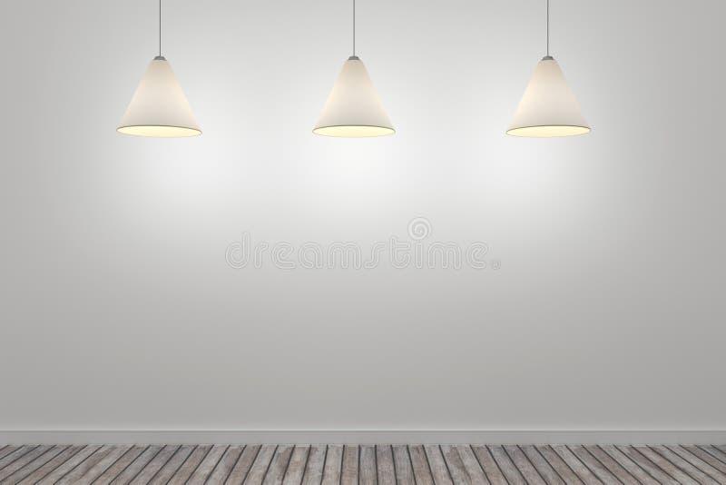pièce 3d blanche avec trois lampes de plafond illustration libre de droits