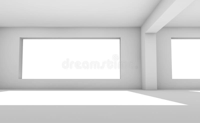 Pièce 3d blanche vide avec les fenêtres larges illustration de vecteur